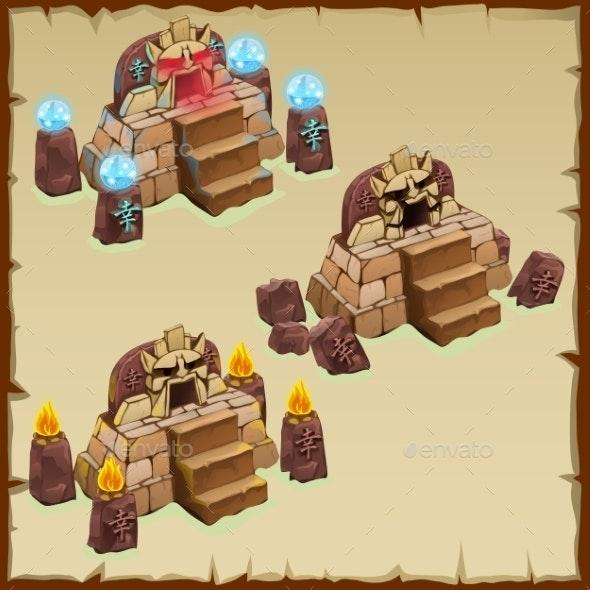 Ancient Ritual Stone Of The Pyramid And Symbols  - Decorative Symbols Decorative