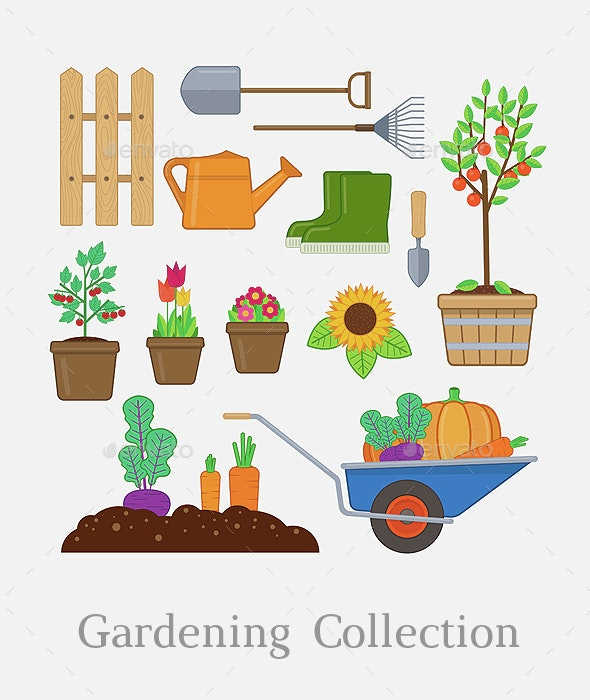 Gardening Set - Objects Vectors