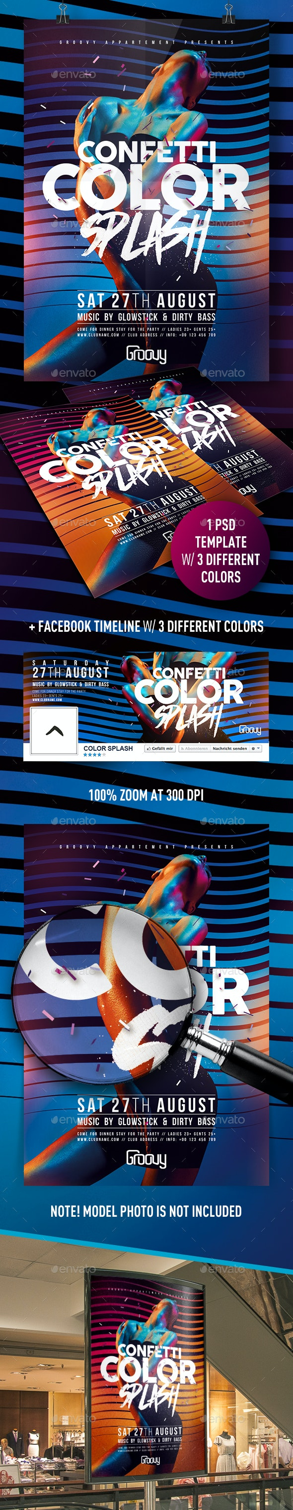 Confetti Color Splash Flyer - Clubs & Parties Events