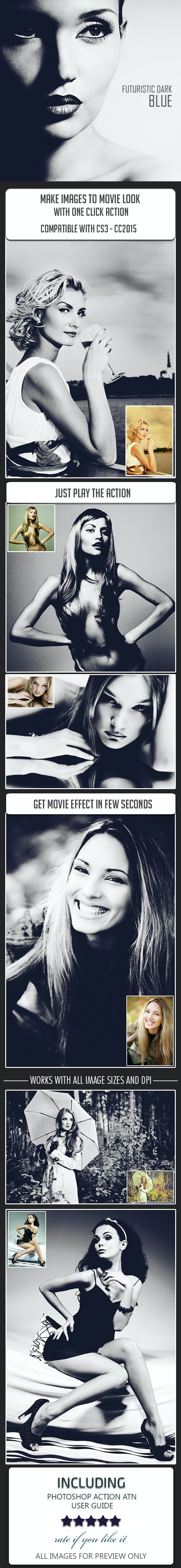 Futuristic Dark Blue Color Movie Effect - Photo Effects Actions