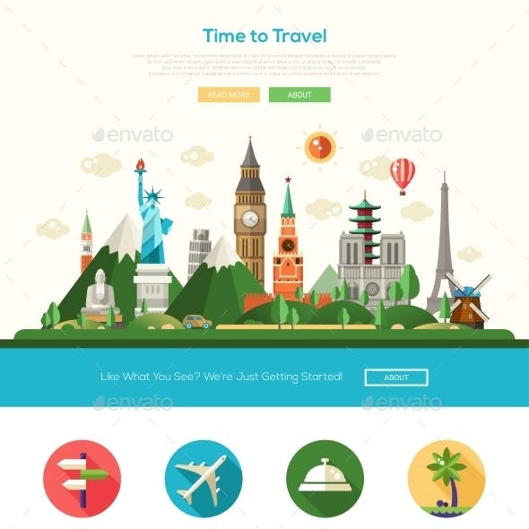 Flat Design Travel Website Header Banner