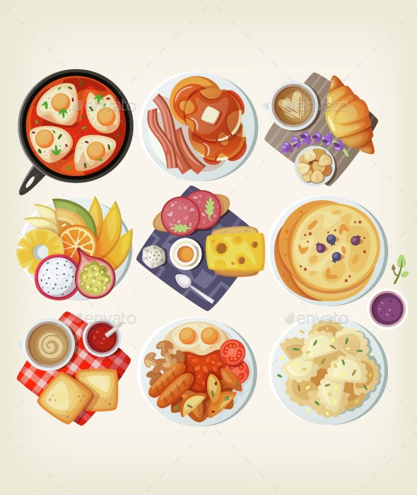 Traditional Breakfasts from All Over the World. - Food Objects
