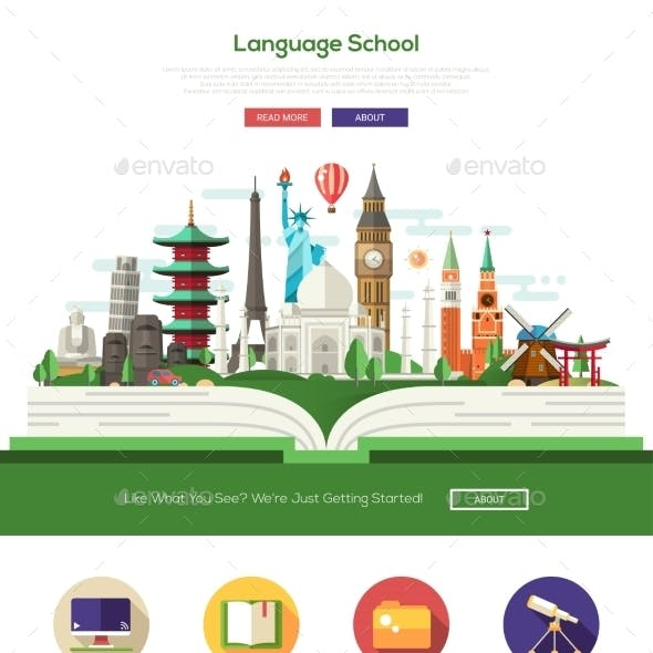 Flat Design Language School Website Header Banner
