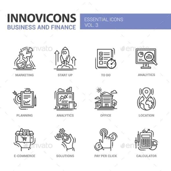 Modern Office And Business Line Flat Design Icons