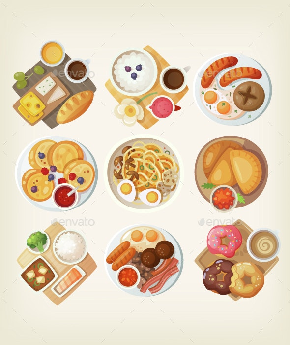 Traditional Breakfasts from All Over the World - Food Objects