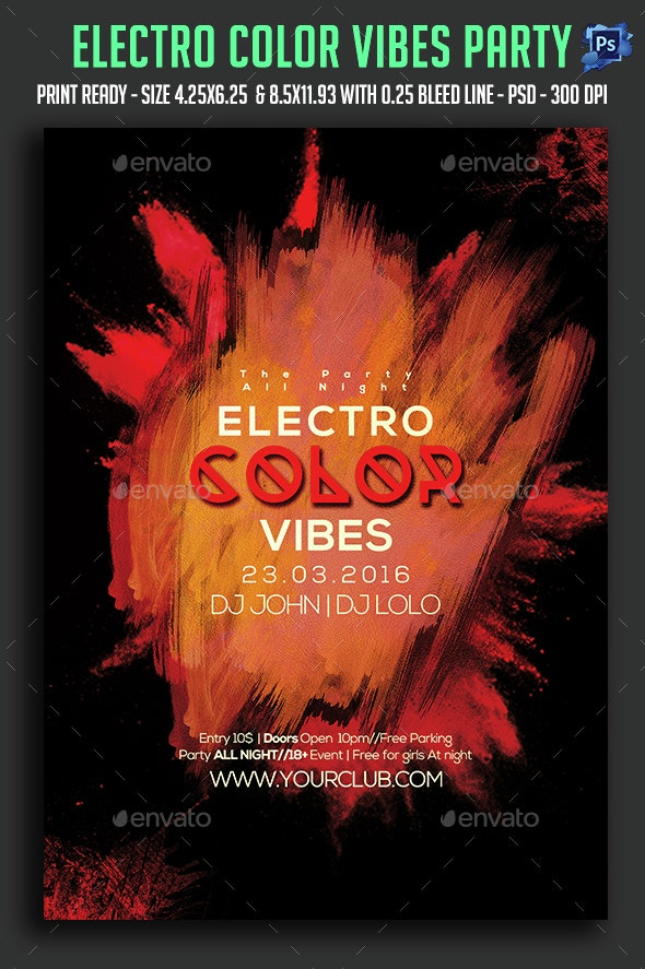 Electro Color Vibes Party Flyer - Clubs & Parties Events