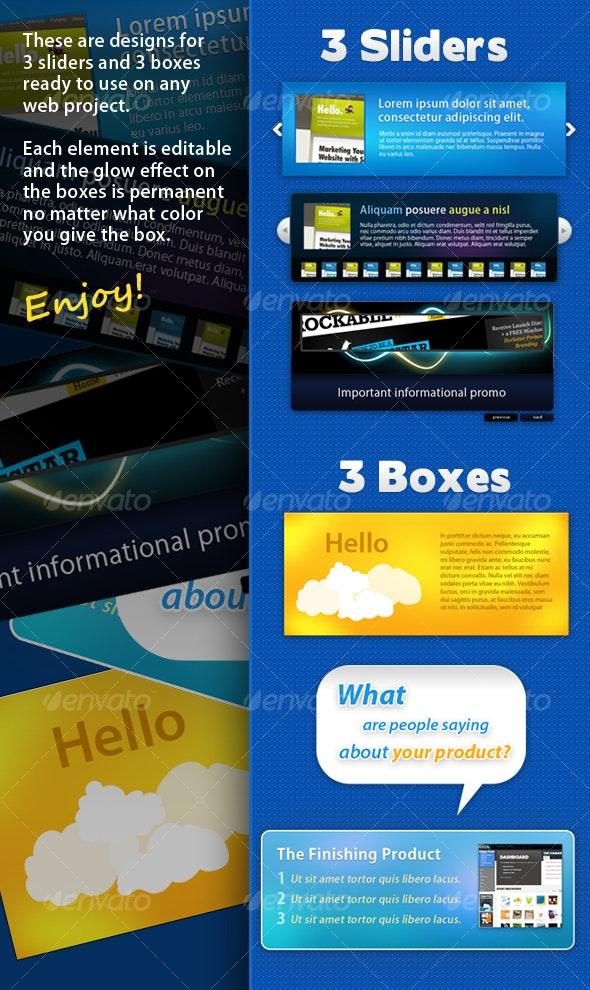 3 Sliders, 3 Boxes - Miscellaneous Web Elements