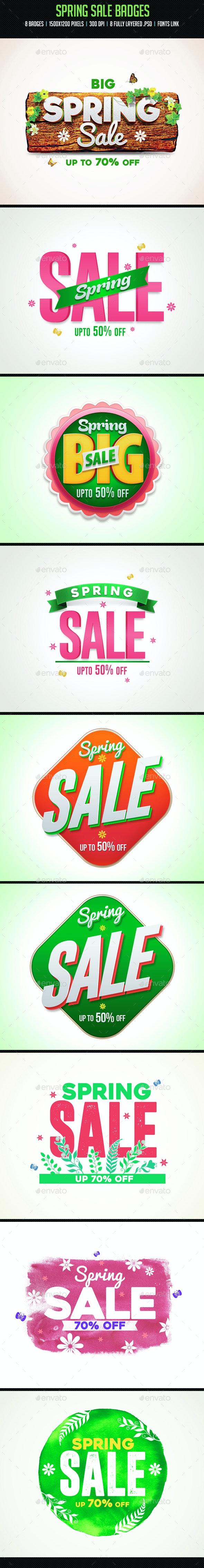Spring Sale Badges - Badges & Stickers Web Elements