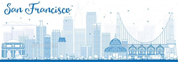 Outline San Francisco Skyline with Blue Buildings. - Buildings Objects
