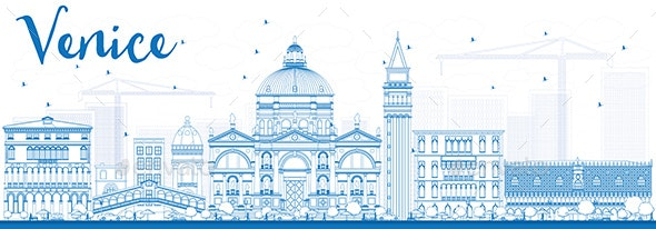 Outline Venice Skyline Silhouette with Blue Buildings. - Buildings Objects