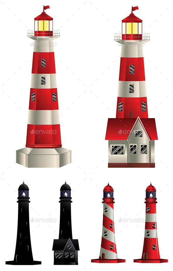 Red and White Lighthouse - Buildings Objects