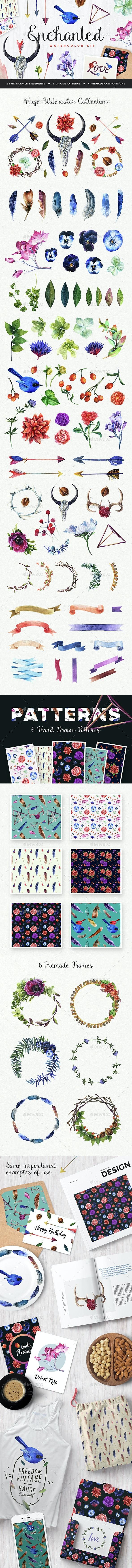 Enchanted Watercolor Kit - Decorative Graphics