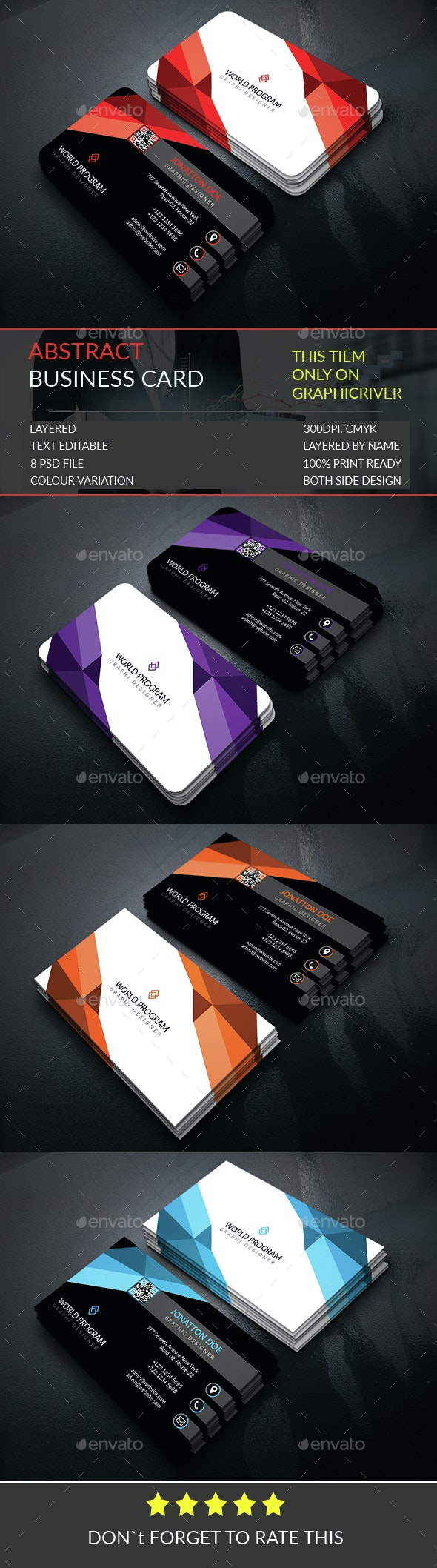 Abstract Business Card Template - Business Cards Print Templates
