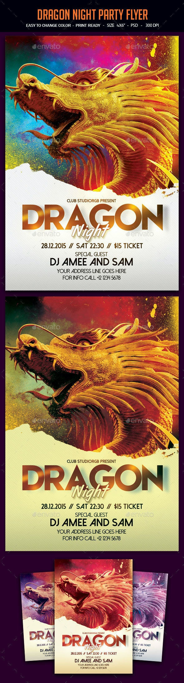 Dragon Night Party Flyer - Clubs & Parties Events
