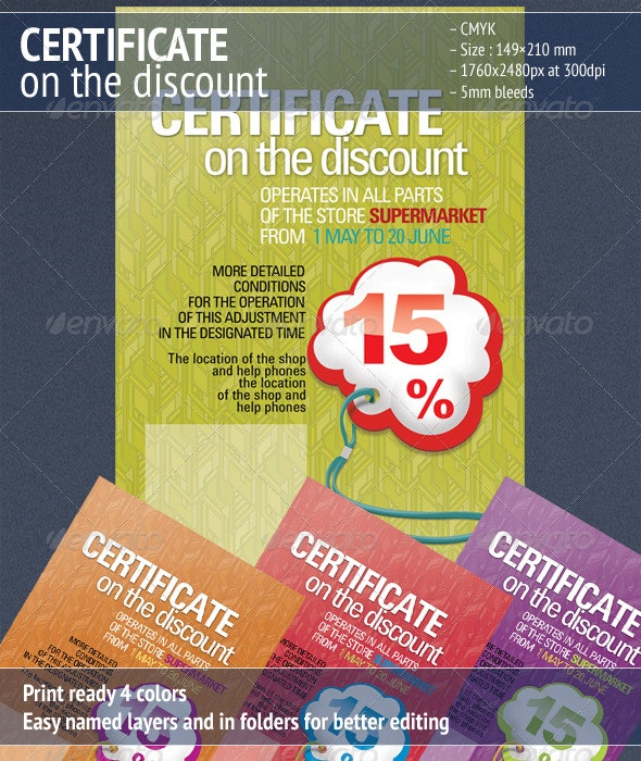 Certificate on the Discount 3 - Certificates Stationery