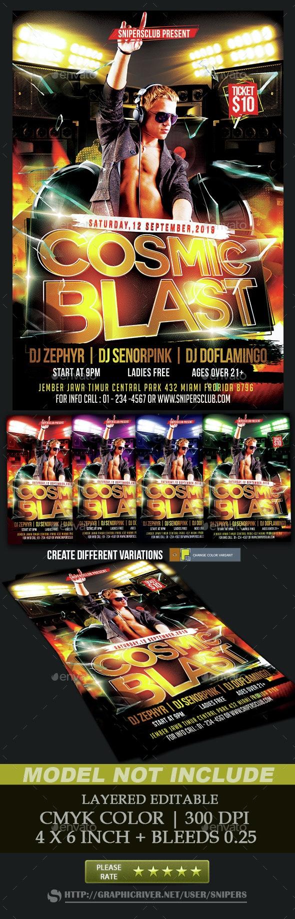Cosmic Blast Party Flyer - Events Flyers