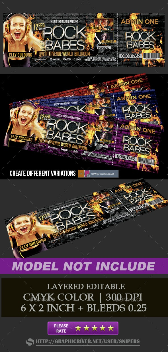 Rock Babes Ticket - Miscellaneous Print Templates