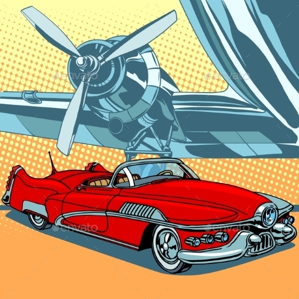 Retro Car on the Runway - Travel Conceptual