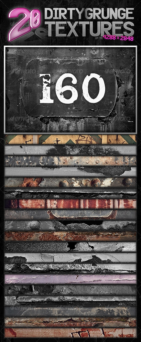 20 Dirty Grunge Textures - Industrial / Grunge Textures