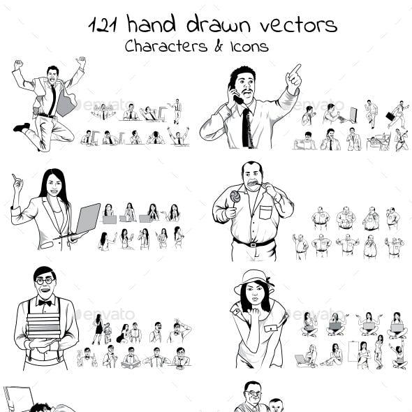 121 Hand Drawn Vectors