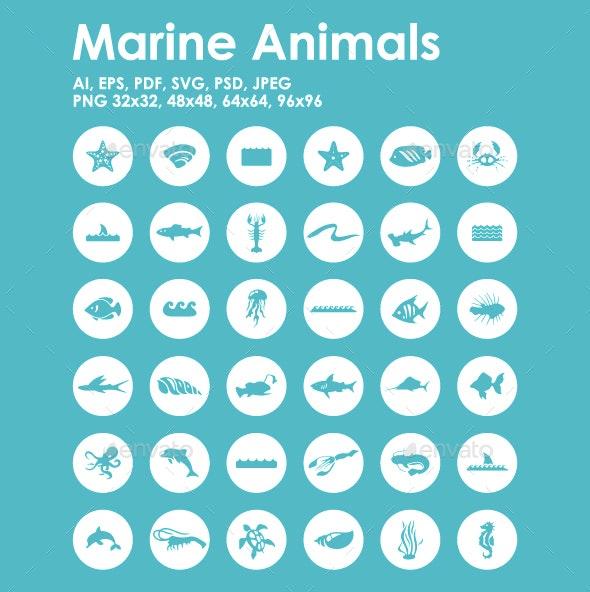 36 Marine Animals icons - Animals Characters