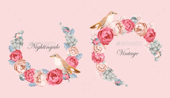 Vintage Vector Card with Nightingale - Flowers & Plants Nature