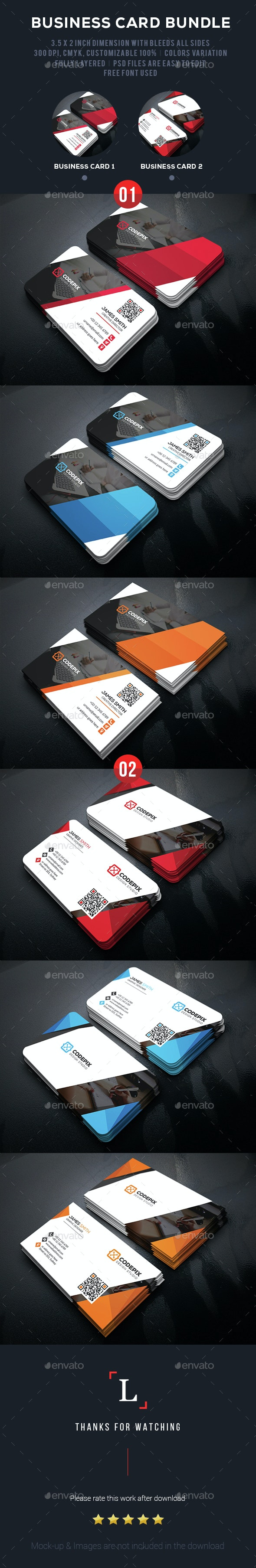 Shade Corporate Business Card Bundle - Business Cards Print Templates