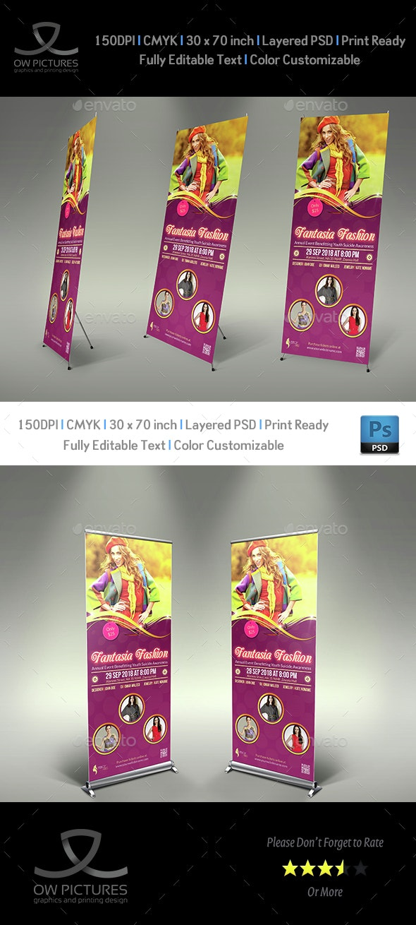 Fashion Party Show Signage Rollup Template - Signage Print Templates