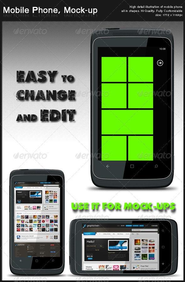 Mobile Phone, Mock-up - Mobile Displays