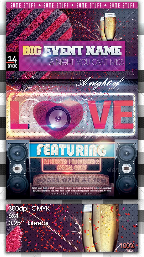 "Valentine's ""Night of love"" Flyer - Clubs & Parties Events"