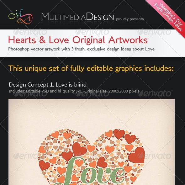 Valentines Hearts&Love Original Typography Designs