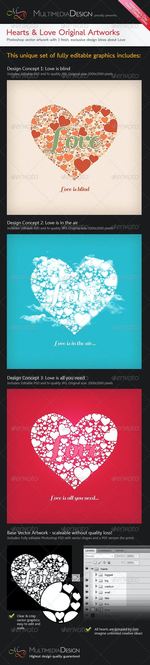 Valentines Hearts&Love Original Typography Designs - Decorative Graphics