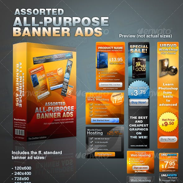 Assorted All-Purpose Banner Ad Templates Vol. 1