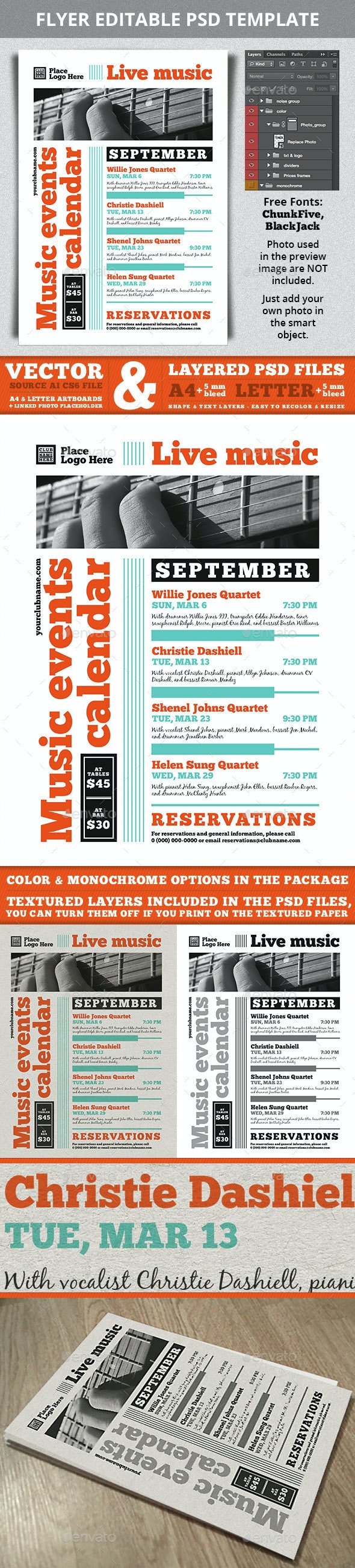 Music Events Calendar A4 Flyer Template - Events Flyers