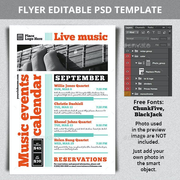 Music Events Calendar A4 Flyer Template