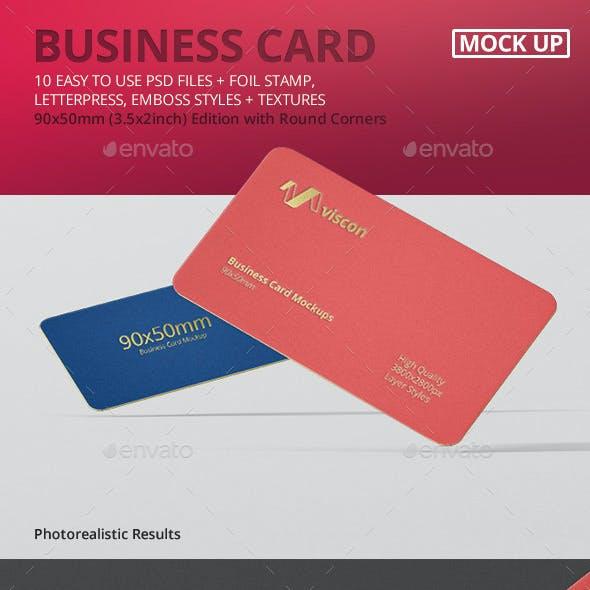 Business Card Mockup Round Corner