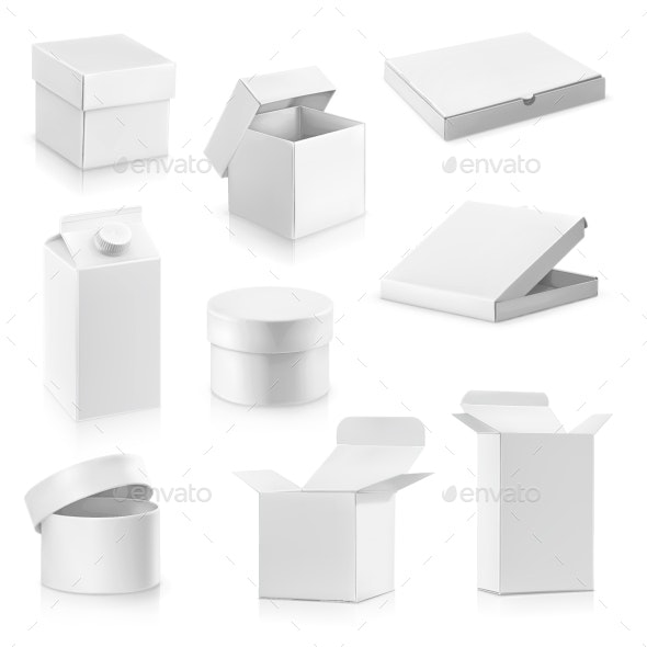 White Cardboard Boxes - Man-made Objects Objects