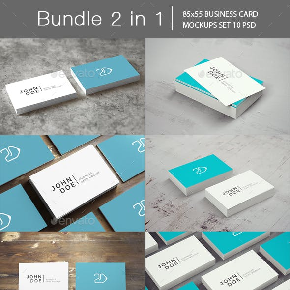 85x55 Business Card Mockup Bundle 2 in 1