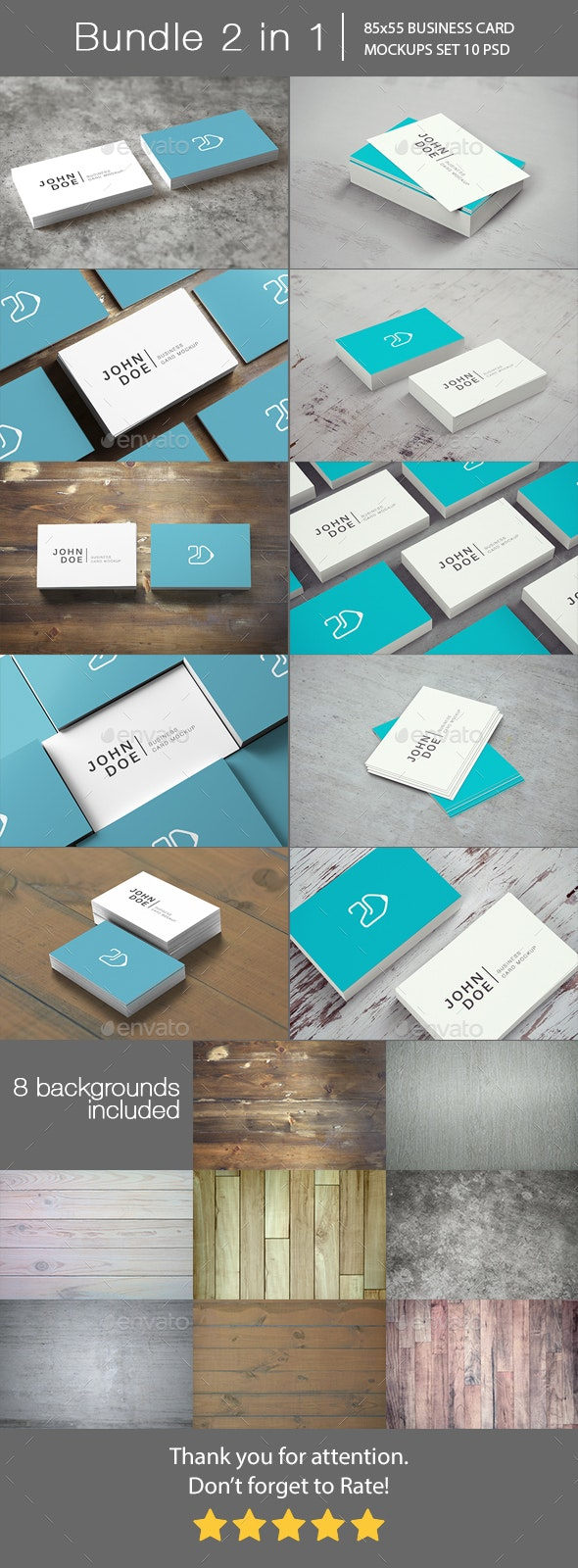 85x55 Business Card Mockup Bundle 2 in 1 - Business Cards Print