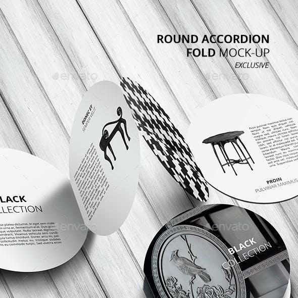 Round Accordion Fold Brochure Mock-Up