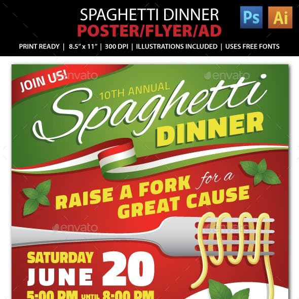 SPAGHETTI DINNER FUNDRAISER Event Poster, Flyer or Ad