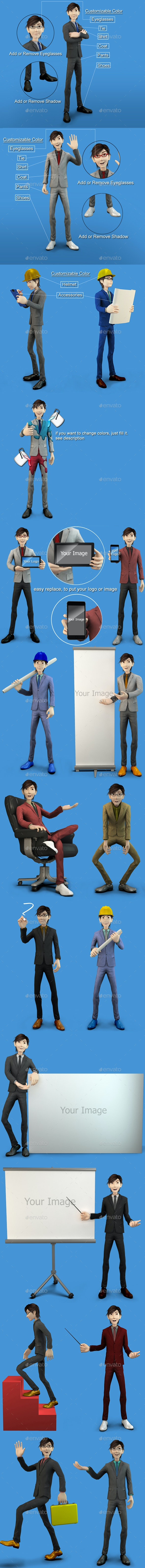 3D Business Character - Characters 3D Renders