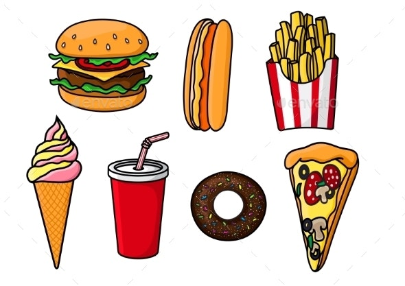 Fast Food Snacks, Drink And Desserts - Food Objects
