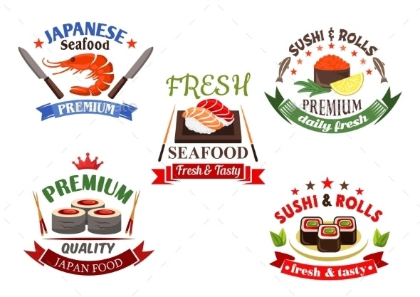Sushi And Seafood Menu Elements - Food Objects