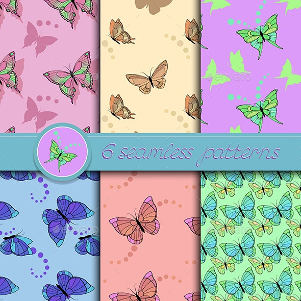 Set of Seamless Patterns with Butterflies - Backgrounds Decorative
