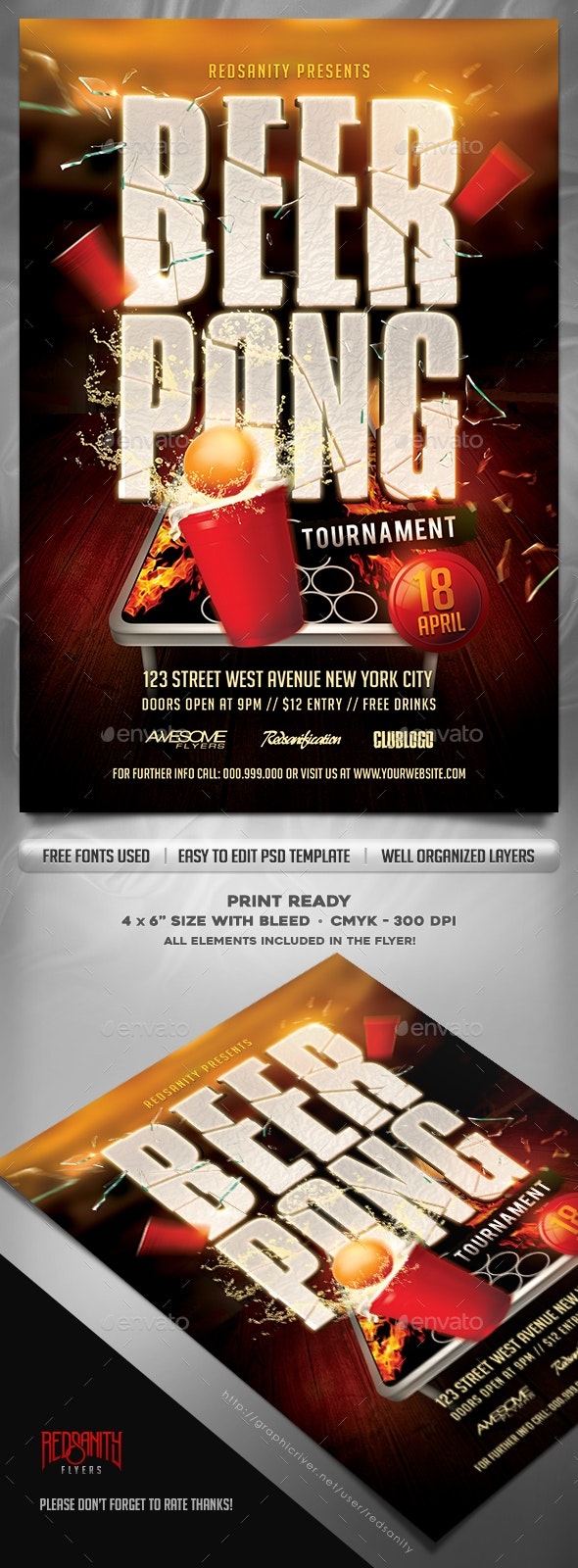 Beer Pong Tournament Flyer Template - Events Flyers