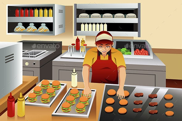 Man Cooking Burgers - People Characters