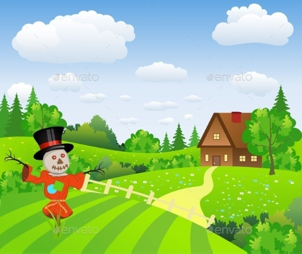 Farm Landscape With Cartoon Scarecrow - Landscapes Nature