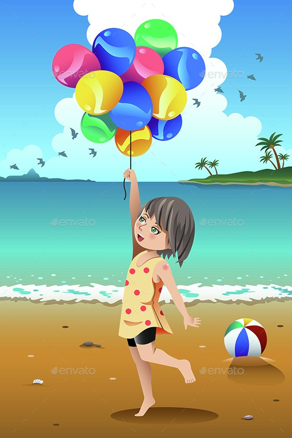 Girl Holding Balloons - People Characters