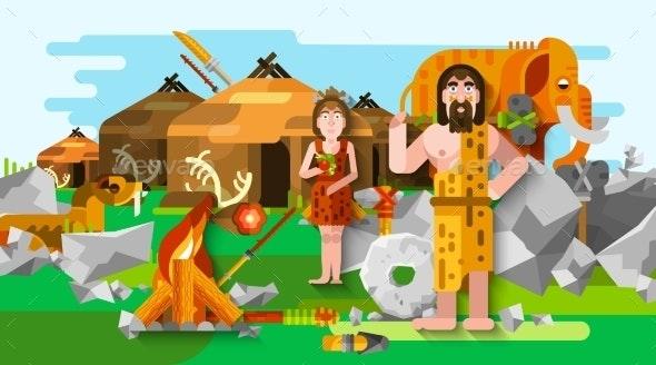 Prehistoric Stone Age Caveman Composition - Decorative Symbols Decorative